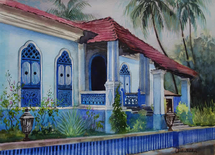Blue House, Painting by Chitra Vaidya